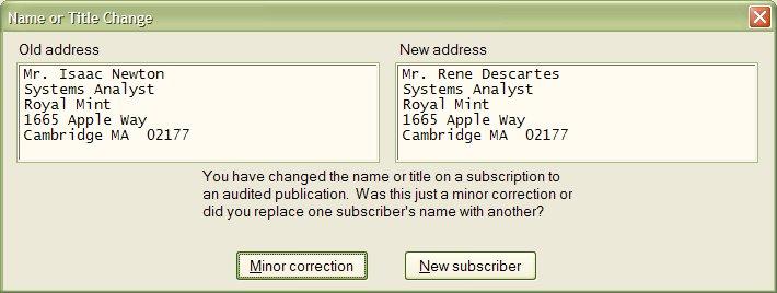 Address change transaction